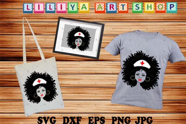 Download Free Afro Nurse Black Nurse Woman Graphic By Liliyaartshop for Cricut Explore, Silhouette and other cutting machines.