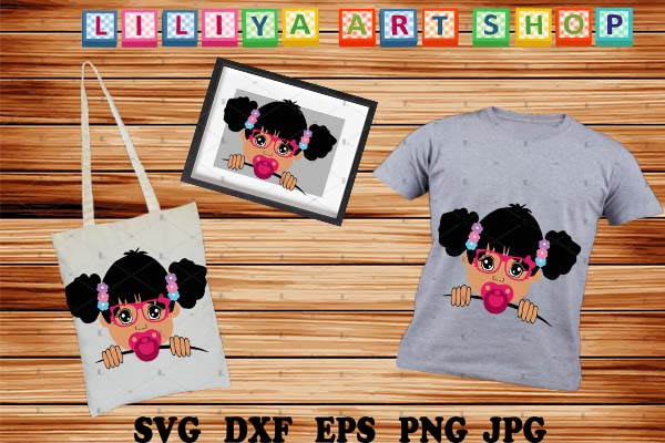Download Free Afro Baby Girl Svg Girl With Pacifier Graphic By Liliyaartshop Creative Fabrica for Cricut Explore, Silhouette and other cutting machines.