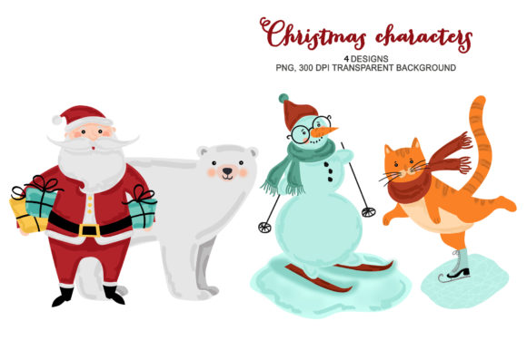 Christmas Winter Animals Snowman Clipart Graphic Illustrations By kabankova
