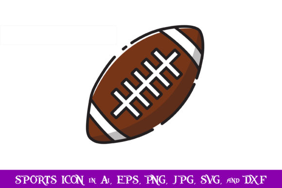 Download Free Rugby Ball Sport Icon Graphic By Purplespoonpirates Creative for Cricut Explore, Silhouette and other cutting machines.