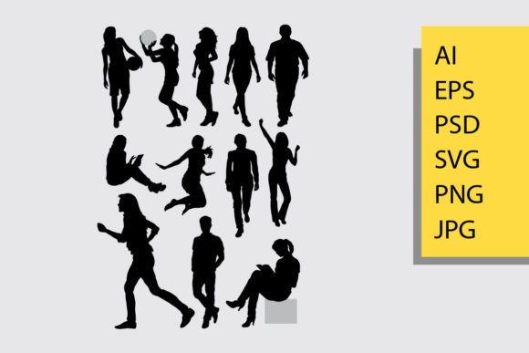 Peope Activity Silhouette Graphic Illustrations By Cove703 - Image 1