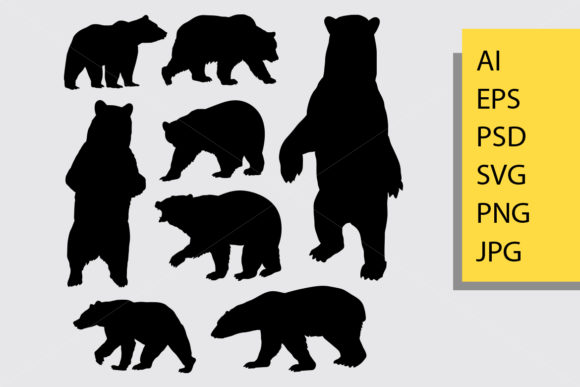 Bear Animal Silhouette Graphic Illustrations By Cove703