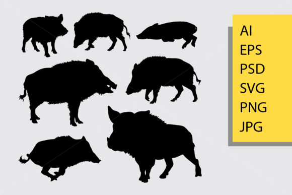 Boar Animal Silhouette Graphic By Cove703 Image 1