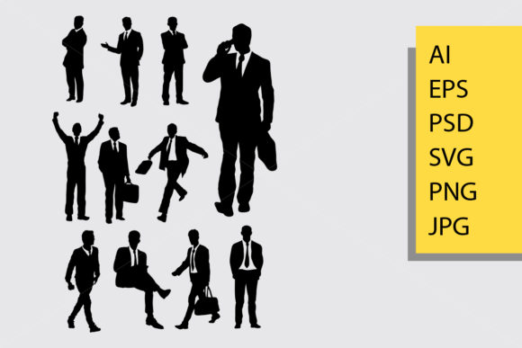 Businessman Silhouette Graphic Illustrations By Cove703 - Image 1