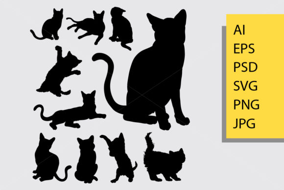 Cat Animal Silhouette Graphic By Cove703 Image 1