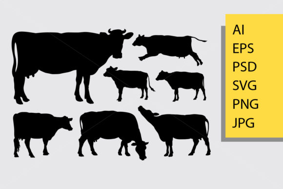 Cow Animal Silhouette Graphic Illustrations By Cove703