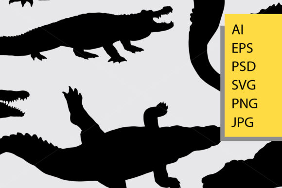 Crocodile Animal Silhouette Graphic Illustrations By Cove703 - Image 2
