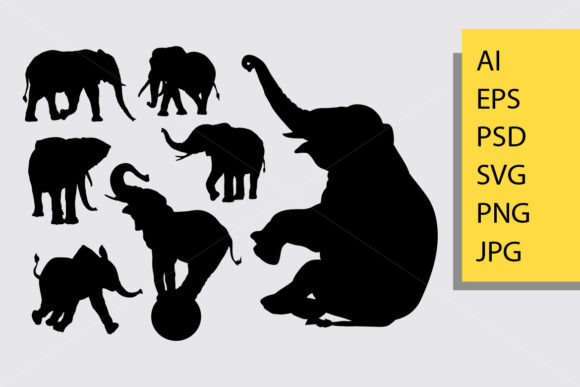 Elephant Wild Animal Silhouette Graphic Illustrations By Cove703