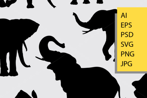 Elephant Wild Animal Silhouette Graphic By Cove703 Image 2