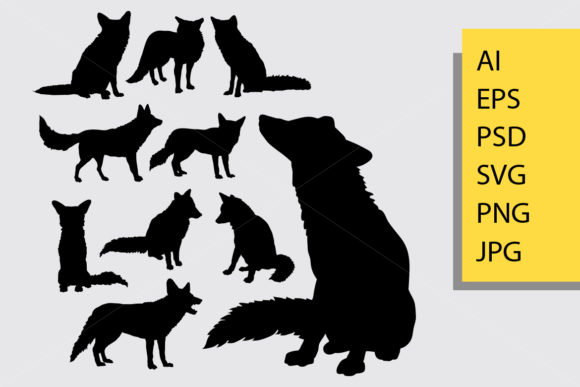 Fox Animal Silhouette Graphic Illustrations By Cove703 - Image 1