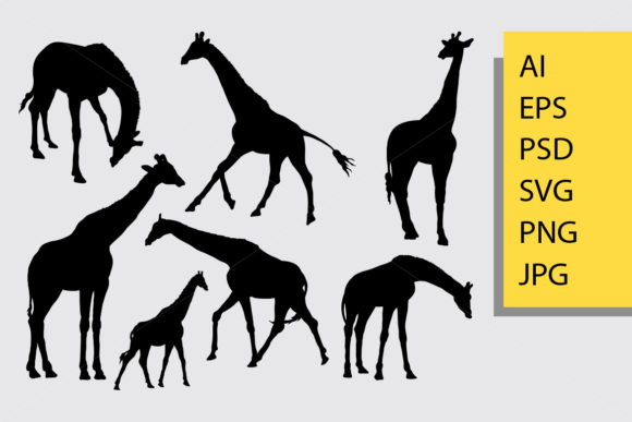 Giraffe Animal Silhouette Graphic Illustrations By Cove703 - Image 1