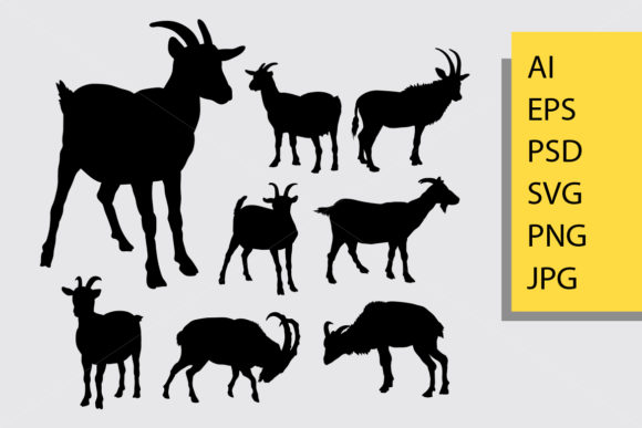 Goat Animal Silhouette Graphic Illustrations By Cove703 - Image 1