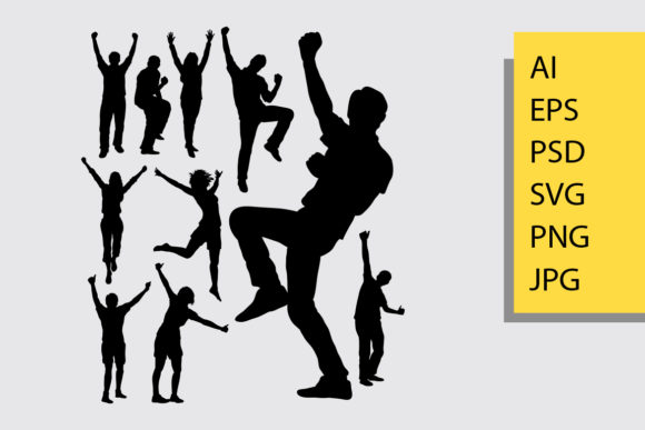 Happy People Silhouette Graphic Illustrations By Cove703 - Image 1