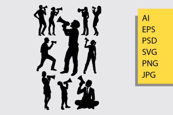 People with Megaphone Silhouette Graphic By Cove703 Image 1
