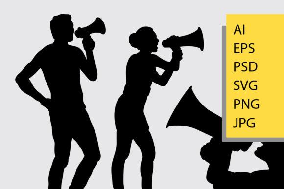 People with Megaphone Silhouette Graphic By Cove703 Image 2