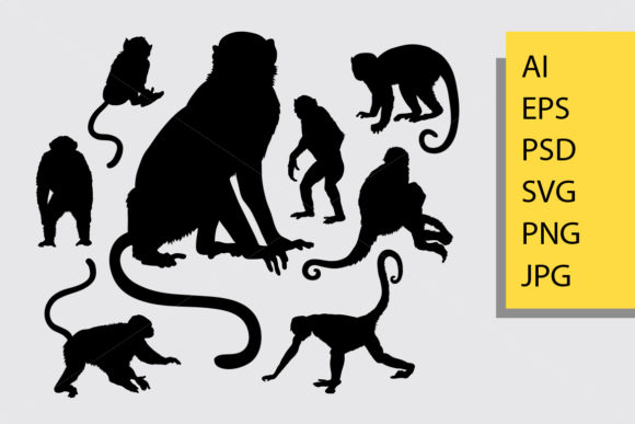 Monkey Animal Silhouette Graphic Illustrations By Cove703 - Image 1