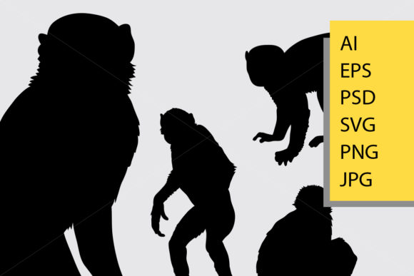 Monkey Animal Silhouette Graphic Illustrations By Cove703 - Image 2