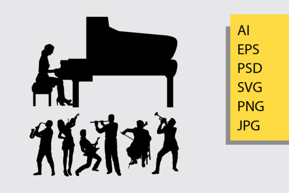 Music Player Silhouette Graphic Illustrations By Cove703