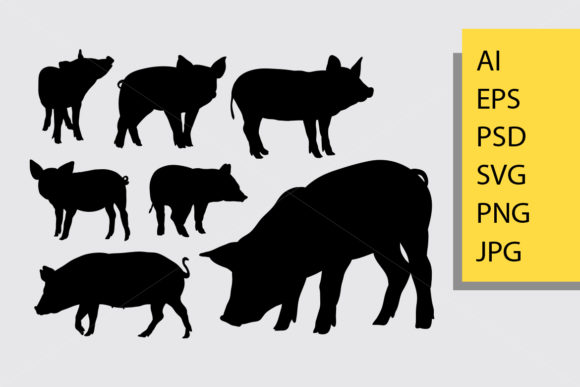 Pig Animal Silhouette Graphic Illustrations By Cove703