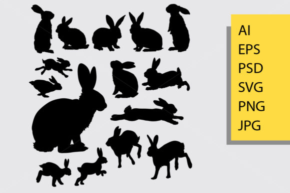 Rabbit Animal Silhouette Graphic Illustrations By Cove703
