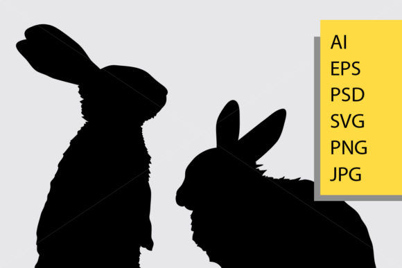 Rabbit Animal Silhouette Graphic By Cove703 Image 2