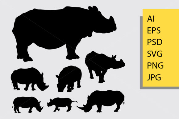 Rhinoceros Animal Silhouette Graphic Illustrations By Cove703 - Image 1