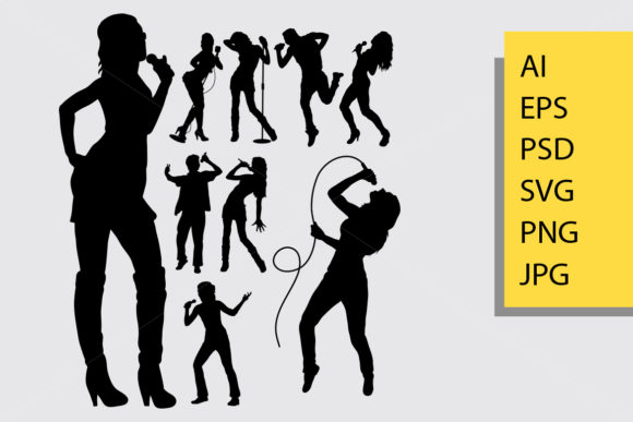Singer Silhouette Graphic Illustrations By Cove703