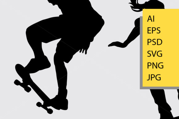 Skateboard Sport Silhouette Graphic By Cove703 Image 2