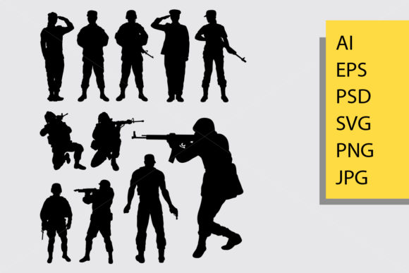 Soldier Silhouette Graphic Illustrations By Cove703 - Image 1