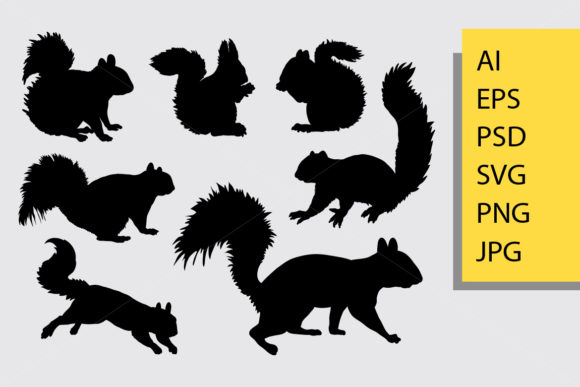 Squirrel Animal Silhouette Graphic Illustrations By Cove703