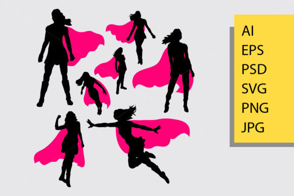 Supergirl Silhouette Graphic Illustrations By Cove703 - Image 1