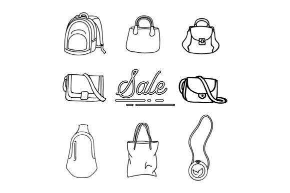 Download Free Bag Outline Collection Graphic By Sabavector Creative Fabrica for Cricut Explore, Silhouette and other cutting machines.