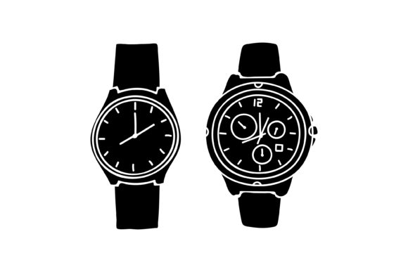 Print on Demand: Silhouette Design Wristwatch Graphic Graphic Templates By sabavector