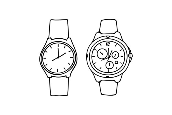 Print on Demand: Outline Wristwatch Design Graphic Graphic Templates By sabavector
