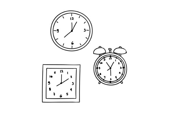 Download Free Outline Clock Design Graphic By Sabavector Creative Fabrica for Cricut Explore, Silhouette and other cutting machines.