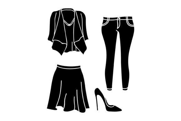 Print on Demand: Silhouette Ladies Clothes Graphic Graphic Templates By sabavector