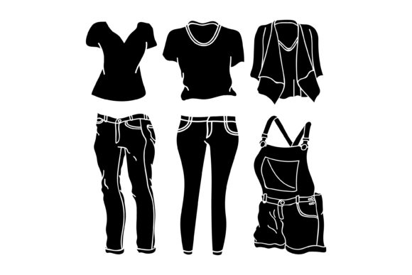 Print on Demand: Silhouette Design Clothing Collection Graphic Graphic Templates By sabavector