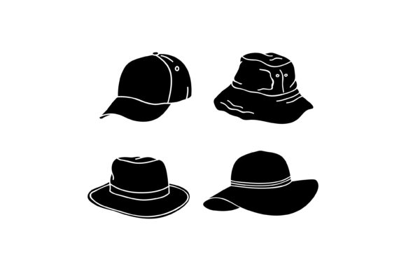 Print on Demand: Silhouette Hat Design Graphic Graphic Templates By sabavector