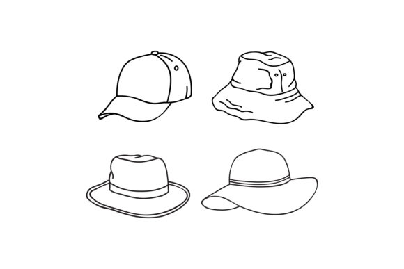 Print on Demand: Outline Hat Design Graphic Graphic Templates By sabavector