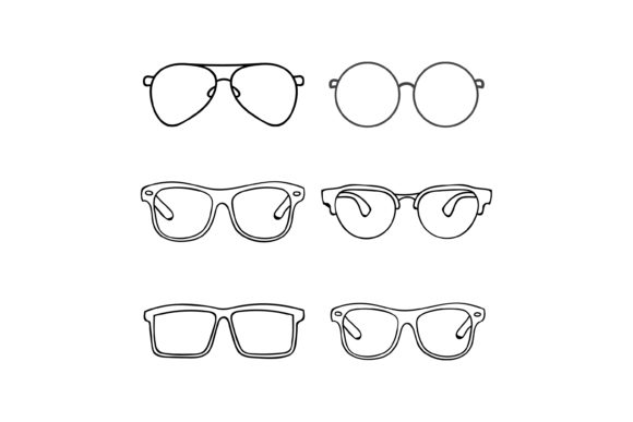 Print on Demand: Outline Design Glasses Graphic Graphic Templates By sabavector
