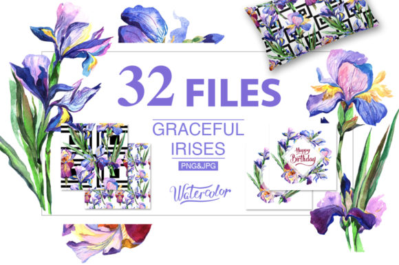 Print on Demand: Blue Irises Watercolor Flowers Graphic Illustrations By MyStocks