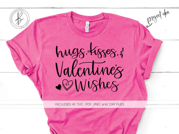 Print on Demand: Hugs Kisses Valentine's Day Wishes Graphic Crafts By BeckMcCormick