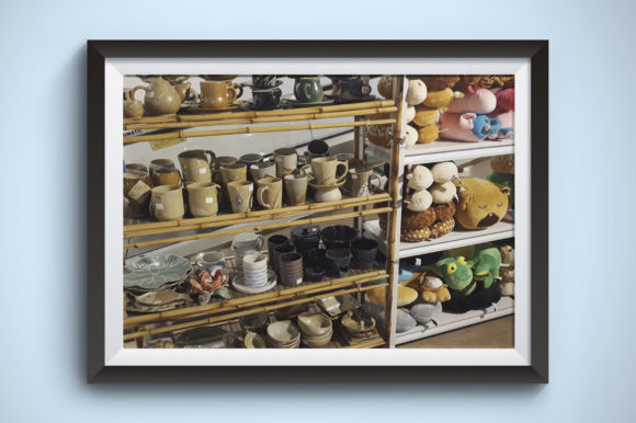 Display of Ceramic Mug and Dolls Graphic Business By Kerupukart Production