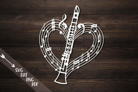 Download Free Clarinet Musical Heart Shape Svg Laser Graphic By Cornelia for Cricut Explore, Silhouette and other cutting machines.