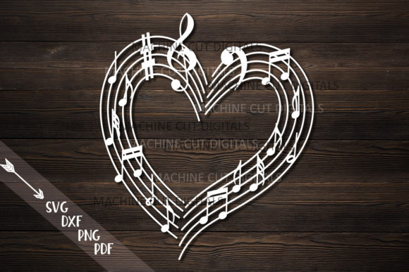 Musical Heart with Music Notes Svg Laser Graphic Crafts By Cornelia