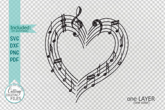 Download Free Musical Heart With Music Notes Svg Laser Graphic By Cornelia for Cricut Explore, Silhouette and other cutting machines.