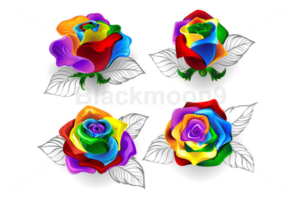 Set of Rainbow Roses Graphic Illustrations By Blackmoon9