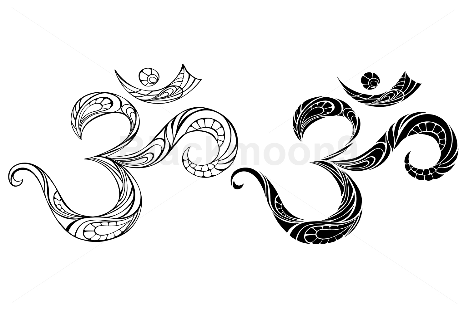 Download Free Contour Symbol Om Graphic By Blackmoon9 Creative Fabrica for Cricut Explore, Silhouette and other cutting machines.