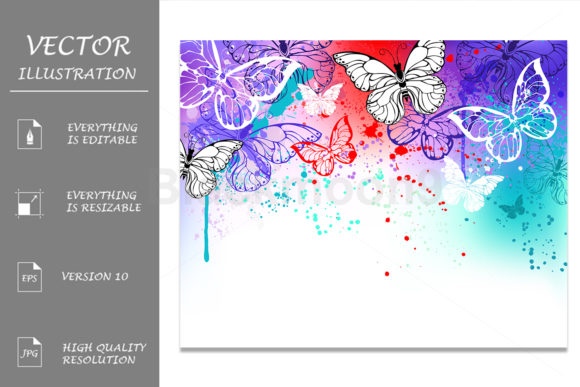 Butterflies on Watercolor Graphic Illustrations By Blackmoon9