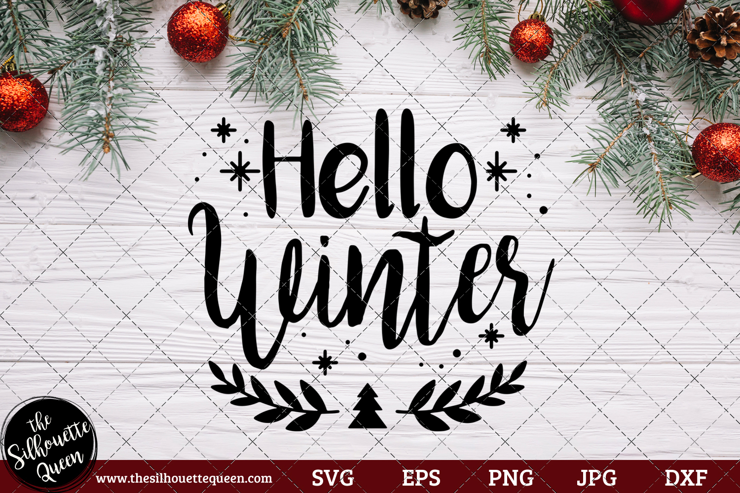 Download Free Hello Winter Saying Graphic By Thesilhouettequeenshop Creative for Cricut Explore, Silhouette and other cutting machines.